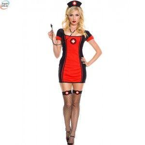 Black & Red Sykepleier Kostyme