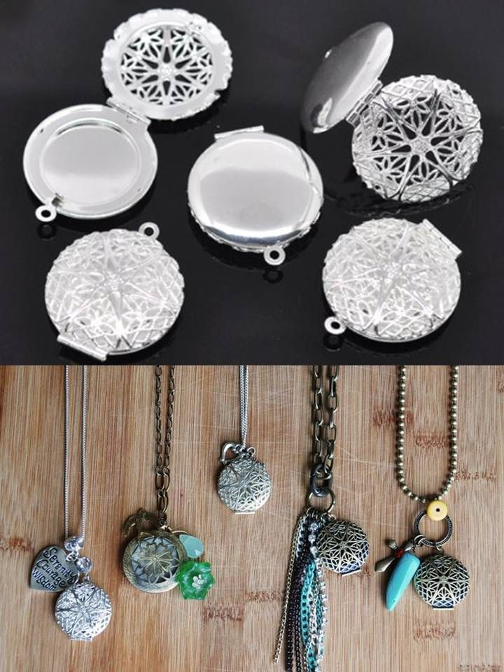 make your own essential oil diffuser necklaces. So easy and so inexpensive-- This set of 5 diffuser pendants is less than $2.50 a piece!! you can get them by clicking on this photo