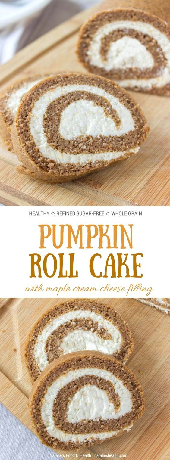 Tender, light and flavorful Pumpkin Roll Cake with a luscious maple cream cheese filling is perfect festive holiday dessert! It's made with all HEALTHY nutritious ingredients, low-calorie and refined sugar-free. Delightfully delicious and guilt-free.  #pumpkin #holiday #Christmas #lowcalorie #healthy #sugarfree #cheese #dessert #easy | natalieshealth.com