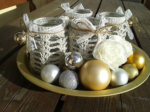 Adventné svietniky, advent decor, candle holders, lace, vintage, home decor, christmas, crochet, lights,