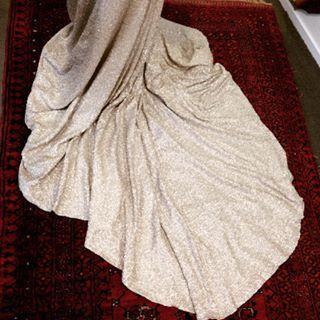 A #sneakpeak of the #train on my latest #custom #wedding #dress #made especially for @dressesandme & #encrusted with #matt #sequins #ilove #weddingdresses #fabric from @centrepointfabrics