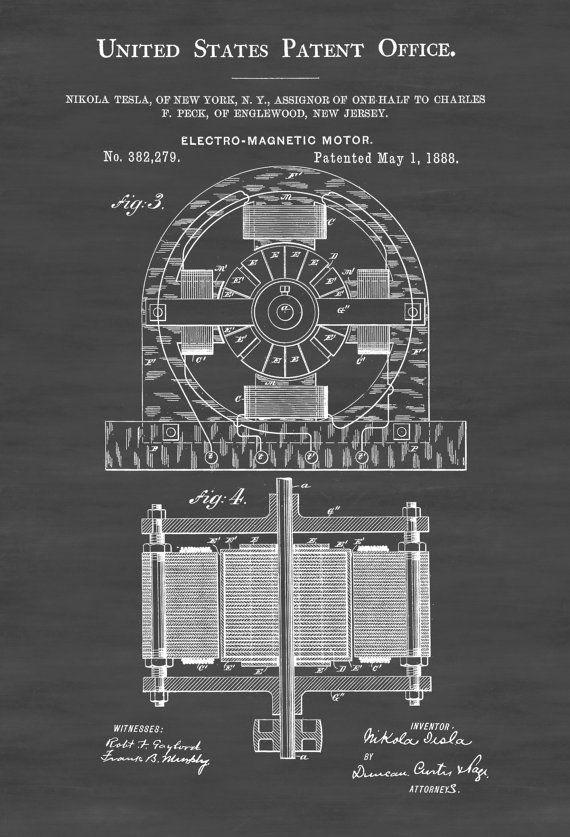 Tesla Electric Motor Patent Print - Patent Print Wall Decor Office Decor Geek Gift by PatentsAsPrints