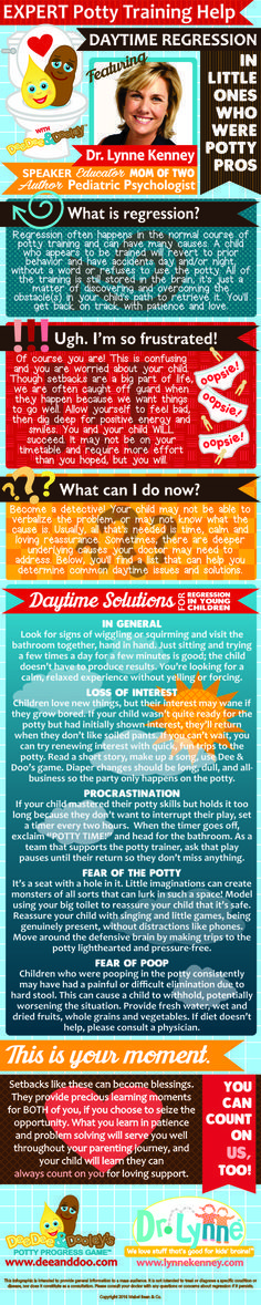 EXPERT Potty Training Help with Dee & Doo and Dr. Lynne Kenney, a pediatric psychologist. The infographic is about daytime potty training regression for kids who were potty trained and then stopped. It gives you great tips and support.
