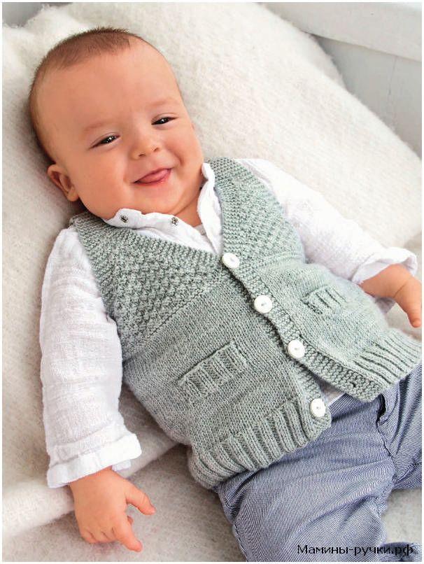 Вязаный спицами серый жилет для мальчика (knitting vest for boy)