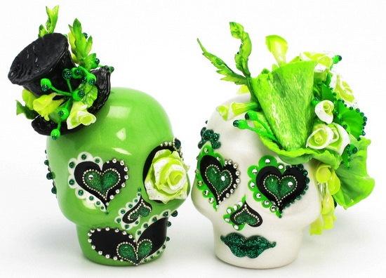 Apple Green Wedding Skull Lover Never Dies Handmade Keepsake