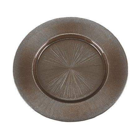 Set Of 2 Ritz 13 inch Brown Silver Glitter Charger Plates