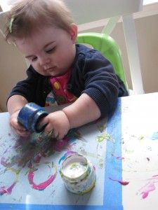 Painting activity with infant! Going to have to go with an edible paint though!