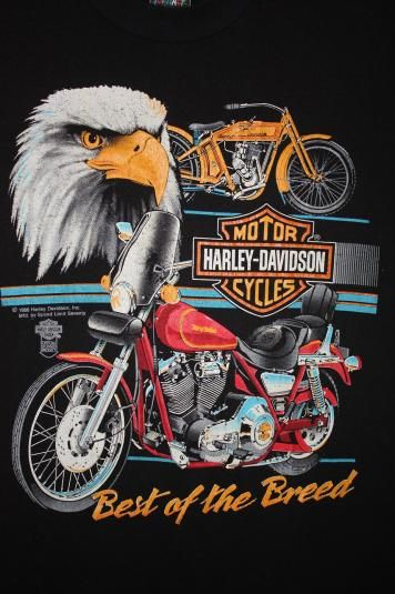 Vintage Harley Davidson t-shirt from 1988. Shirt is in good shape. There is cracking on the graphic. No tears or stains.