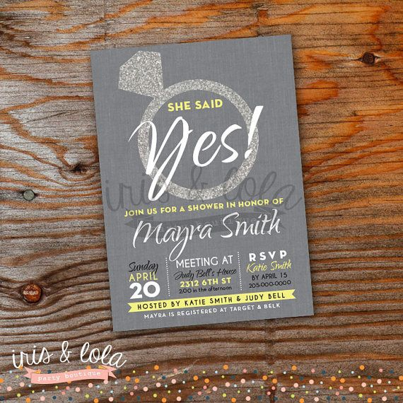 She Said Yes! Bling Bridal Shower Party Digital Invitation