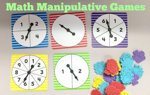 Math Manipulative Games using Number Spinners and Counters