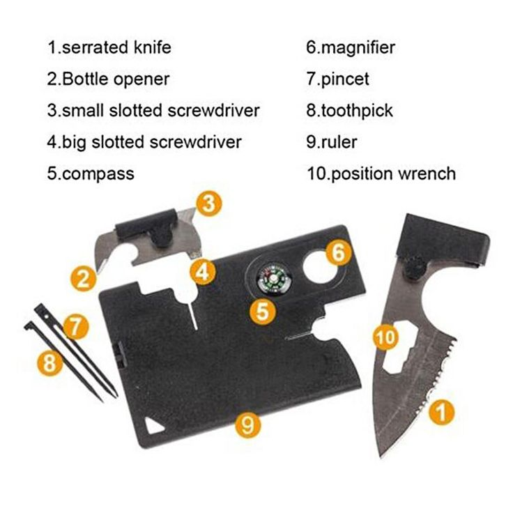 10in1 Multi-purpose tool card Portable Pocket Credit Card Survival Knife Outdoor Camping Tools