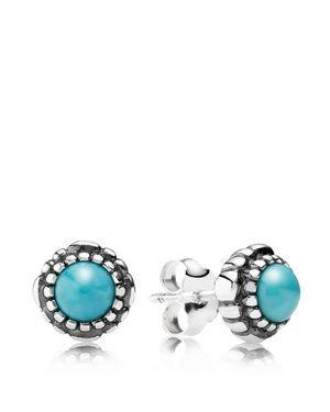 Pandora Earrings - Sterling Silver & Turquoise Birthday Blooms December Stud