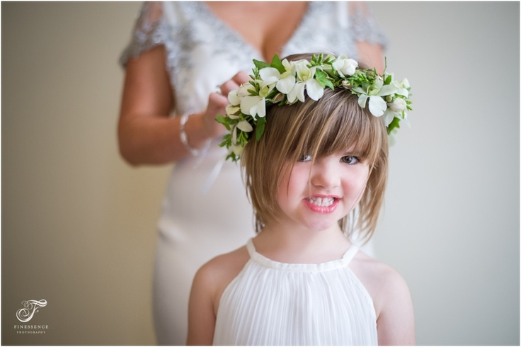 Flower girl with floral wreath #floral #head #wreath