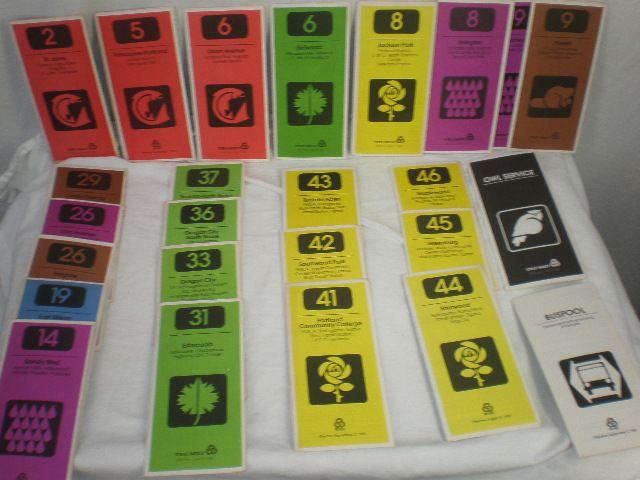 Bus Routes Schedules Timetables Vintage 1980 Portland Oregon 23 Pieces plus 2 Extra pamphlets - http://raise.bid/store/collectibles/schedules-timetables-pamphlets/