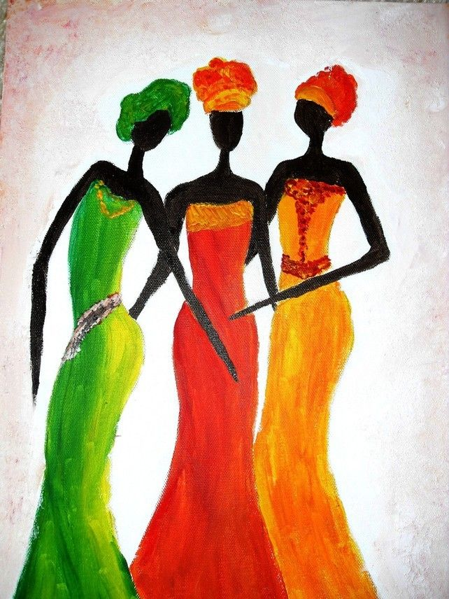 Print Of Original Painting Acrylic, African Art Dancing Ladies £15.00
