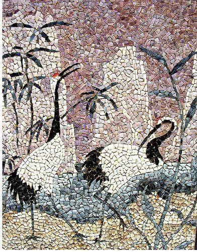 "mosaico -87 "" Grullas ""   (13-11-2005)   (50 x 60 cm.)"