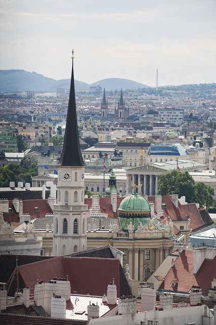Vienna, Austria: View from Stephansdom looking out over the city.