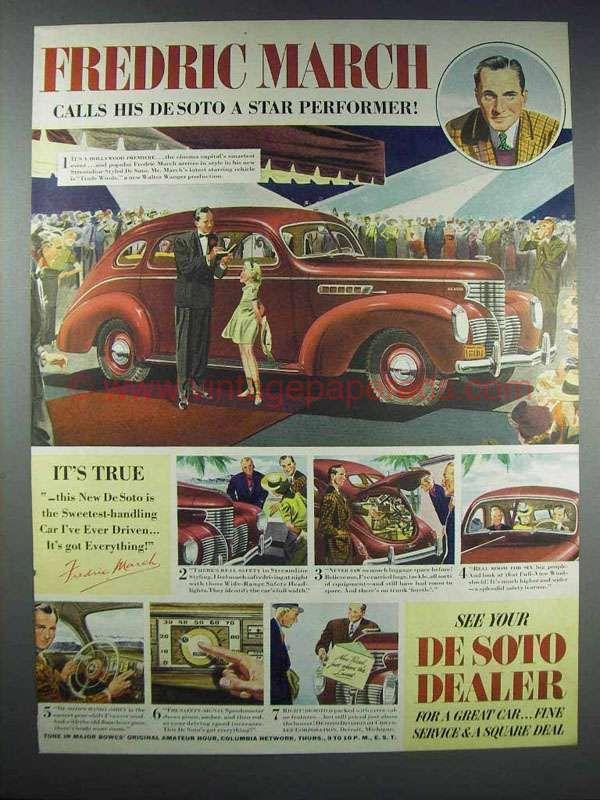 1938 DeSoto Cars Ad - Fredric March