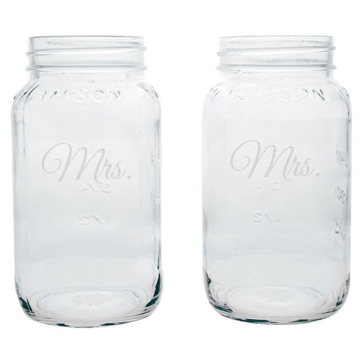 Mrs. & Mrs. Wedding Mason Jars - 2 ct., Glass