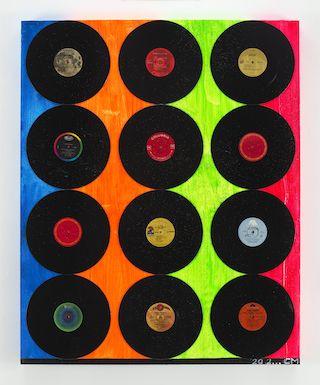 "Chris Martin, The Sun Needs the Moon, 2012. acrylic, collage, alkyd, oil, 48 x 39"""