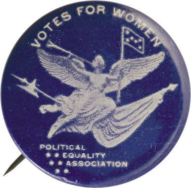 Political:Pinback Buttons (1896-present), Political Equality Association Suffrage Pinback, 33mm diameter.Reversed white design on dark blue background, excellent con...