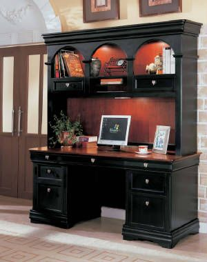 Black Pedestal Computer Desk With Hutch
