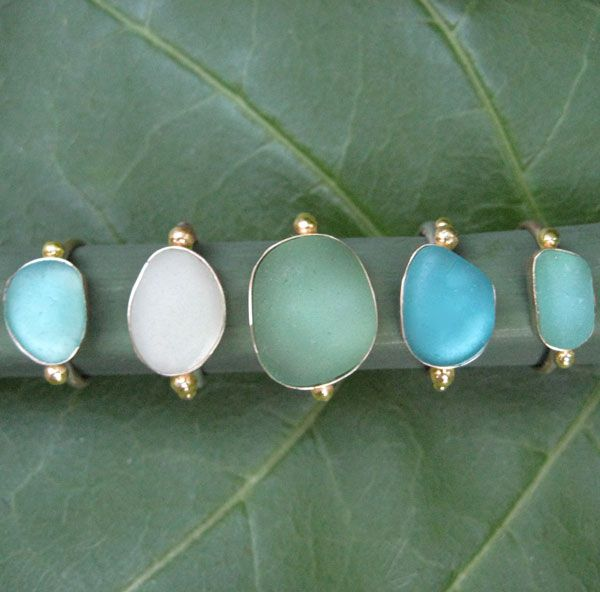 14k beachglass ring, 14k bezel and band, each piece is unique size shape and color will vary
