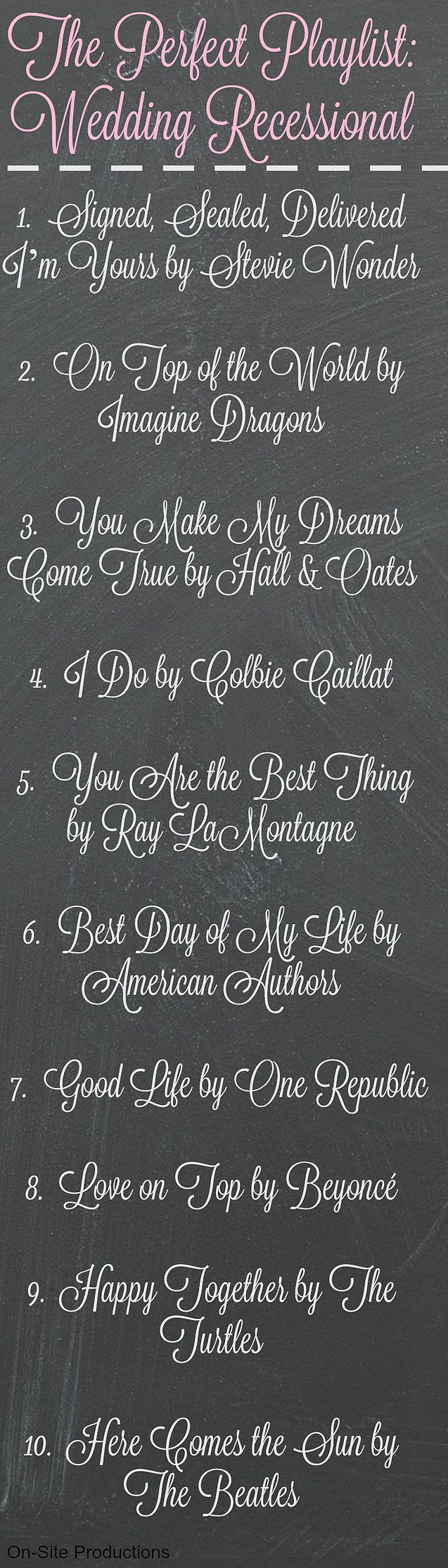 10 Songs for your Wedding Recessional.  I love all of these fun, upbeat songs to play for my recessional and celebrate that we just got married!!!