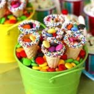 Ice cream cones filled with candy