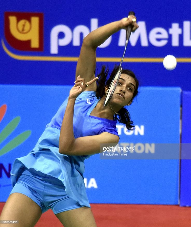 Indian shuttler PV Sindhu in action against Busnan Ongvumrungphan of Thailand during the India Open Badminton