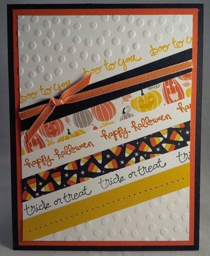 Stampin up Good Greetings 2014 hostess stamp set Halloween card using Motley Monsters DSP by Gloria Kremer facebook: Girlfriend Originals