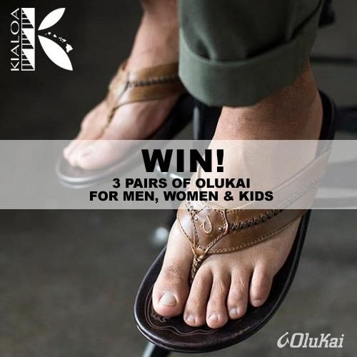 This month you could win (3) Pair of Olukai® Sandals–for the whole family! No purchase necessary.