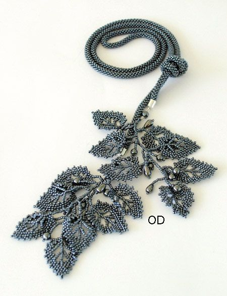 Olga Dillow. Hematite Lariat Necklace. Bead crochet with russian leaves.