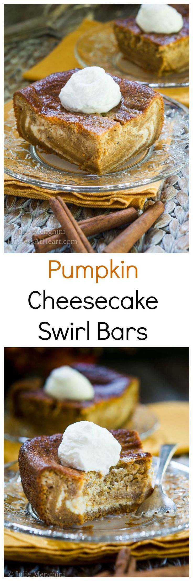 Smooth & Creamy Pumpkin Cheesecake Swirl Bars are the definition of fall and will be a delicious show-stopper at your next get-together or Holiday dinner! | HostessAtHeart.com via @HostessAtHeart