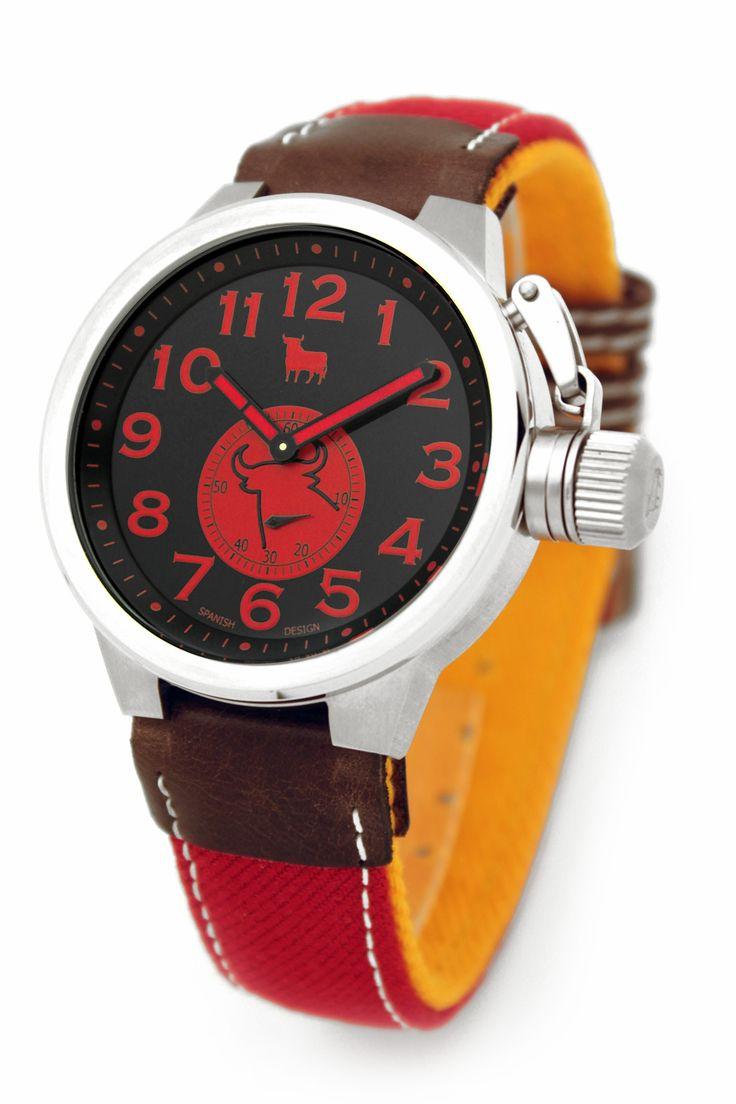 #Reloj Toro #Watch - Modelo TO-1227-2 Colección Urraco -Taurino - Reloj con esfera negra de 46 mm de diámetro con caja de acero quirúrjico y correa de auténtica tela de muleta. Movimiento citizen-miyota, solo tempo, WR 5 ATM. Garantía de dos años -Tienda Oficial Online #Moda #Espana