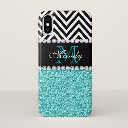 Personalized Faux Aqua Glitter Chevron Monogram iPhone X Case - modern gifts cyo gift ideas personalize