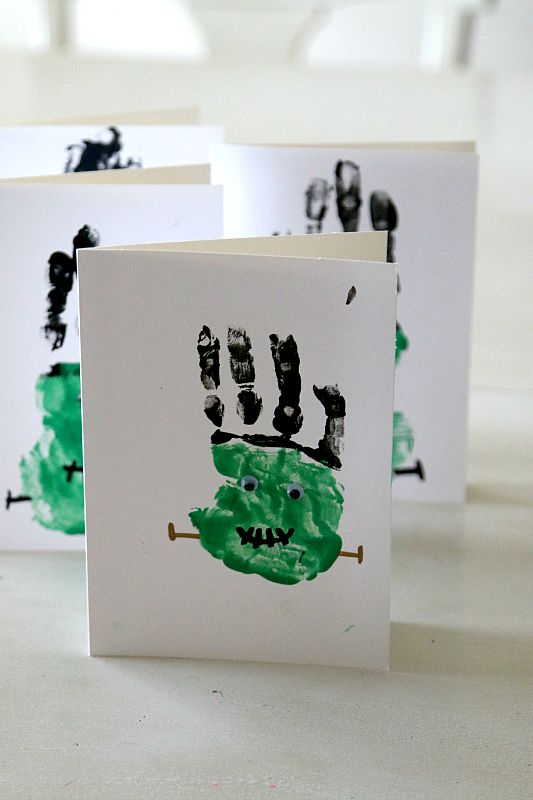We think that these Frankenstein Handprint cards are super cute and great for family fun