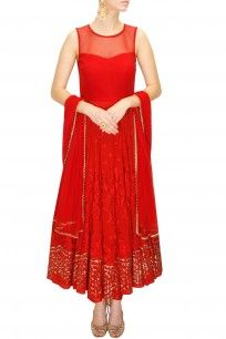 Red thread and sequins embroidered anarkali set