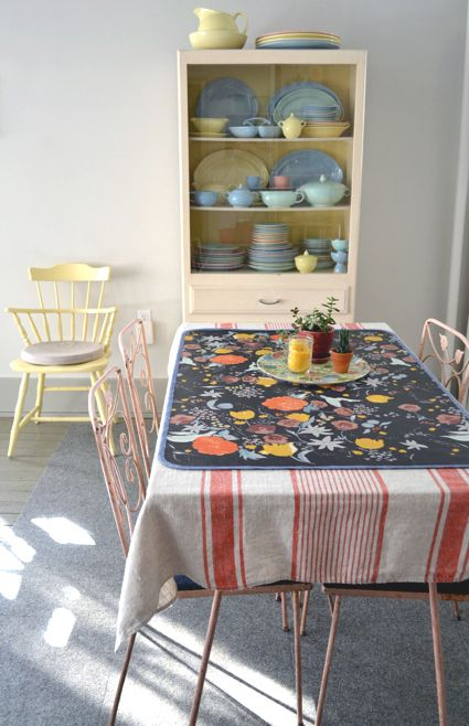 tafelkleed - theedoek: Dining Rooms, Places Mats, Idea, Over Oilcloth, Oil Clothing, Oilcloth Tables, Clothing Placemat, Wren Handmade, Oilcloth Placemat