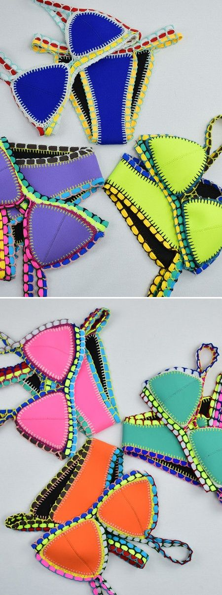 One day one color, neo crochet bikini suit, be close to beach and sea in summer.