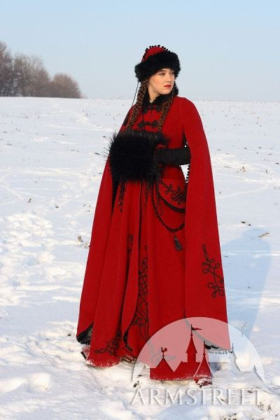 """Medieval Fantasy Wool Winter Coat """"Queen Of Shamakhan"""". $549.99, via Etsy. --- When I'm rich, I'm going to buy you this coat and we can go to Aspen and be fabulous."""