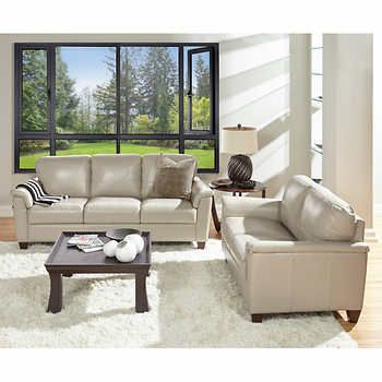 Ancona Taupe Top Grain Leather Sofa and Loveseat