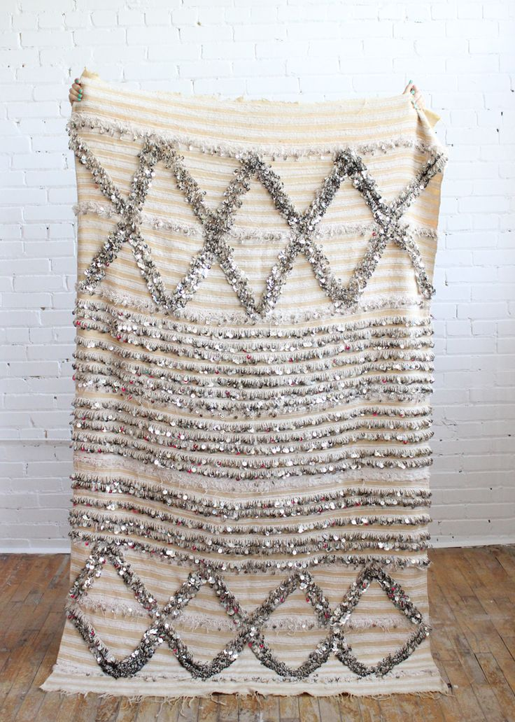 Vintage Handira wedding blanket with metallic sequins, Baba Souk