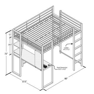 DHP Abode Full Size Metal Loft Bed - Overstock™ Shopping - Great Deals on Dorel Home Products Kids' Beds