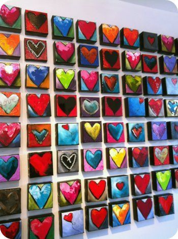 End of jan.  each student works on multimedia heart project.  One heart.  Have lots of materials to experiment with.  Class 1 we create interesting ground with acrylic paints and collaged/glued tissue.  Class 2 we embellish with pastels, papers, etc.