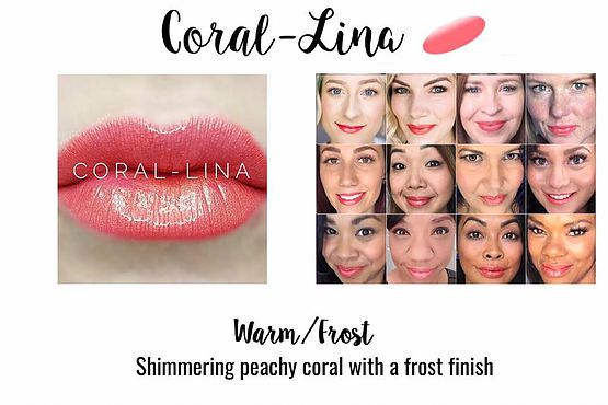 Coral-Lina LipSense Color - a shimmering peachy coral color with a frost finish. (www.lastinglipsbylindsay.com or @lastinglips_by_lindsay on instagram) lipsense   glossy gloss   senegence   lipstick   coral lips   makeup   long lasting lipstick   smudge proof lipstick