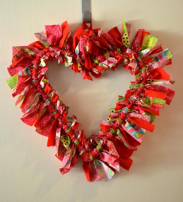 Heart Rag Wreath Valentines Day Pinterest Wreaths