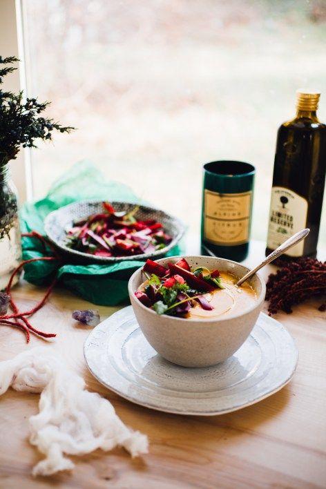 sweet potato coconut milk soup with bright beet salad | recipe via…