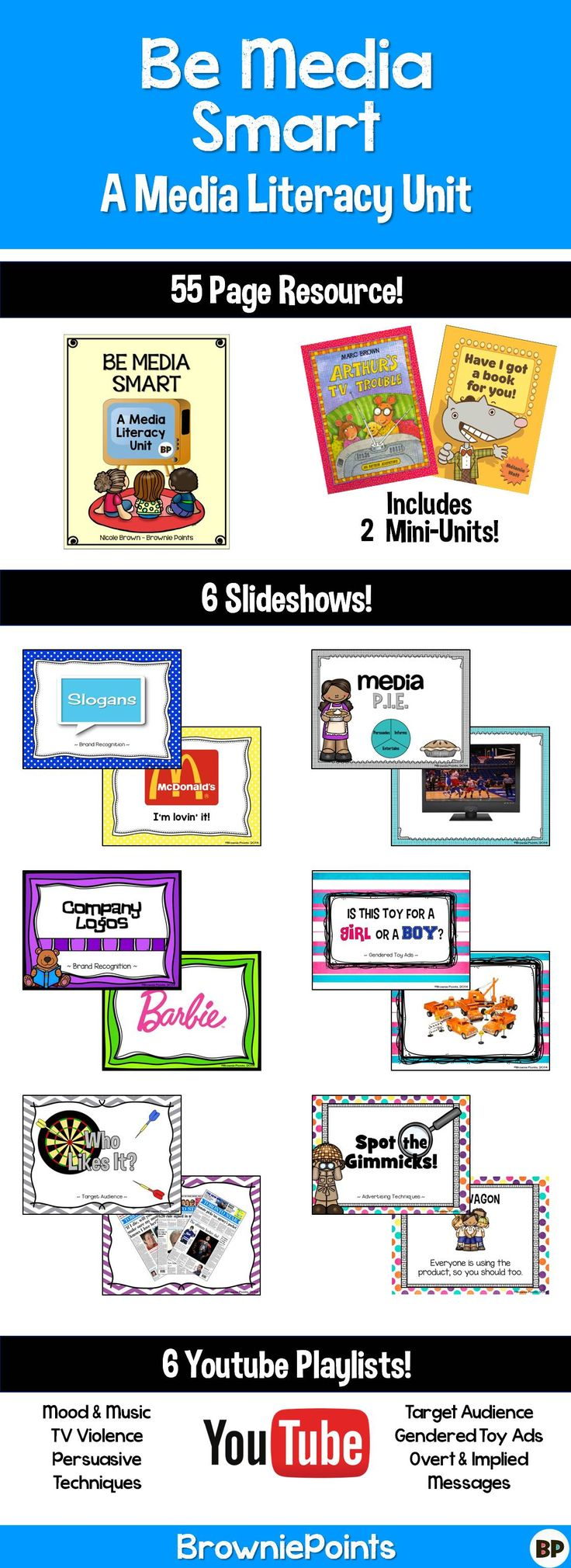 A Media Literacy Unit Includes worksheets, literature connections, 6 Slideshows, and 6 YouTube playlists!