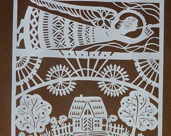 papercut scherenschnitt angel of lithuania by. Black Bedroom Furniture Sets. Home Design Ideas